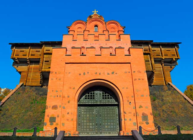 The Golden Gates of Kyiv have been reconstructed. They used to be the gates of the medieval wall of the city.